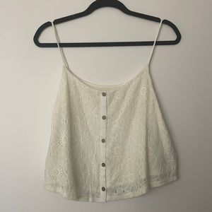 Painted threads button down lace crochet top